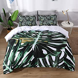 UniTendo 3 Pieces Tropical Banana Leaf Bedding Plant Printed Colorful Bright Pineapple Duvet Cover Set White Bedding Sets Soft Fiber Bedding Sets, Queen Size
