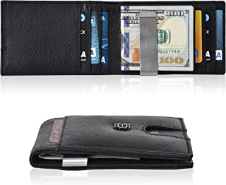 Slim Wallets Money Clip wallets - Leather Wallet Front Pocket Minimalist Modern Card Holder Bifold Mens Wallet