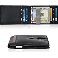 Slim Wallets Money Clip wallets - Leather Wallet Front Pocket Minimalist Modern Card Holder...