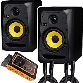 "KRK Classic 5 Professional Bi-Amp 5"" Powered Studio Monitor (2 Speakers) Pair of XLR Cable + Gravity Phone Holder M"