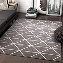 Well Woven Menage Geometric Grey Modern Triangle Tiles Shapes Lines Area Rug 8x11 (7'10
