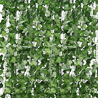 Artificial Plants Fake Ivy, 12 Strands Artificial Ivy Garland Fake Vines, UV Resistant Trellis with Artificial Leaves Hang...