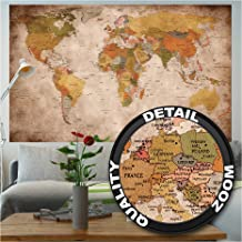 Wallpaper Used Look - Wall Picture Decoration Globe Continents Atlas World Map Earth Geography Retro Old School Vintage ma...