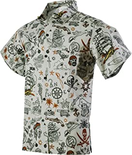 e139caf52f953 Funny Guy Mugs Mens Hawaiian Print Button Down Shirt