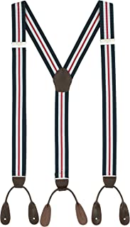Suspenders for Men Leather Button End Elastic Tuxedo Y Back Mens Pant Braces