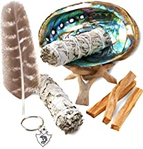 JL Local Smudge Kit - Sage, Palo Santo, Abalone Shell, Tripod, Feather & Kokopelli Keychain for Healing, Smudging, Cleansing, Purifying, Stress Relief