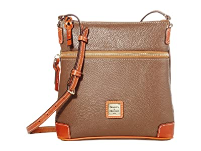 Dooney & Bourke Pebble Leather Crossbody (Mushroom/Tan Trim) Cross Body Handbags