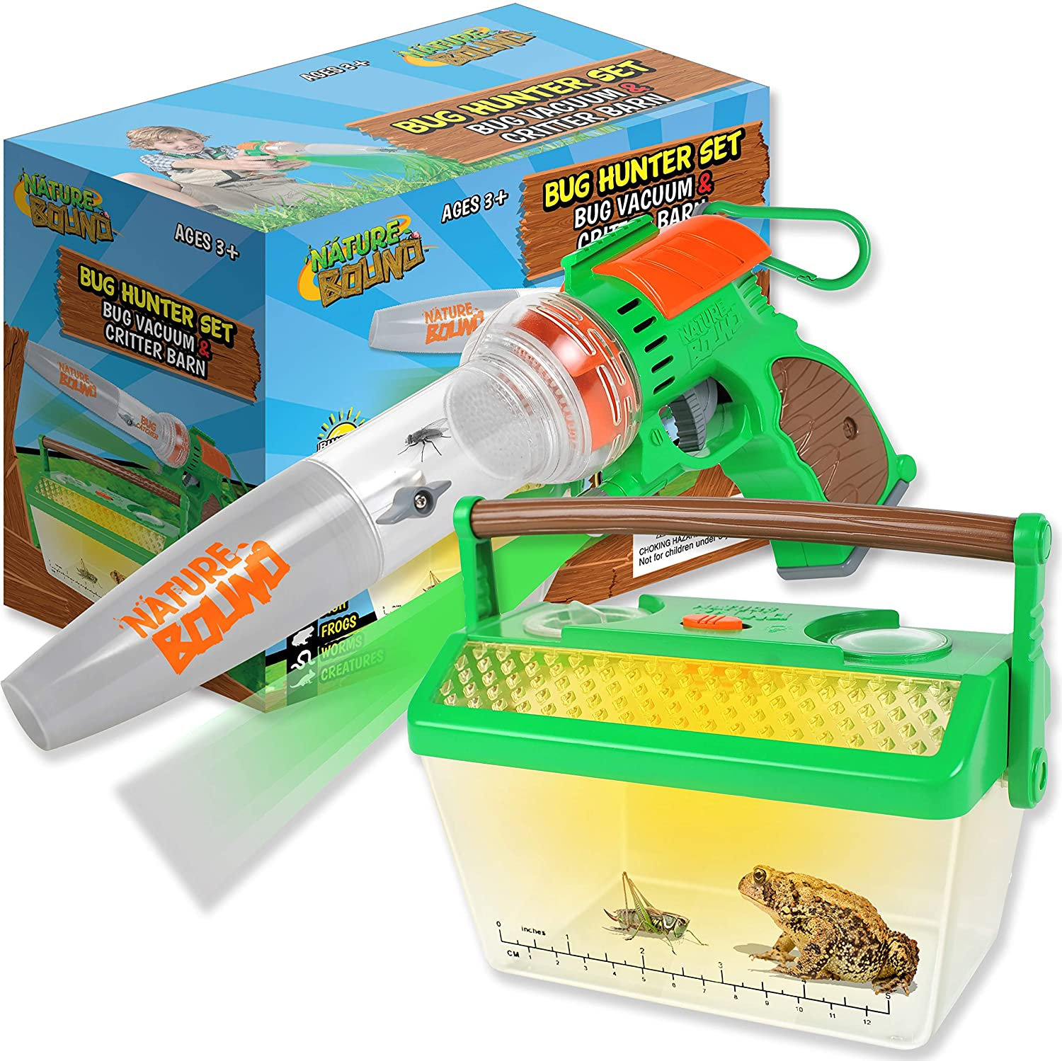 Nature Bound Bug Catcher Vacuum with Light Up Critter Habitat Case for Backyard Exploration - Complete Kit for Kids Includes Vacuum and Cage, Green