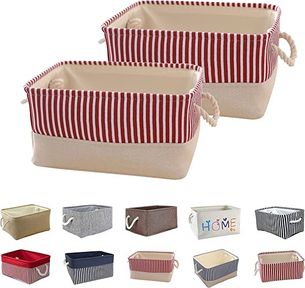 Queenie 2 Pack Collapsible Fabric Storage Basket Home Organizer Available In Different Colors And Sizes Solid Ivory Red Stripe 35 X 25 X 17 Cm 13 75 X 9 75 X 6 75 Inch