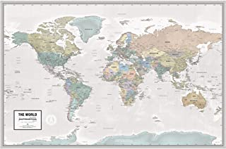 """Laminated World Odyssey Map Poster   Executive Style Map   Includes The Most Legible Location Labels   36"""" x 24""""   Shipped Rolled in a Tube, Not Folded   Great for The Home or Classroom"""