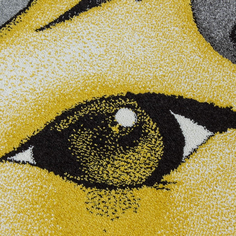 Teppich KinderteppichKinderzimmer Rund Kurzflor Einhorn Optik Gelb Grau Ma/ße:120 cm x 120 cm Rund