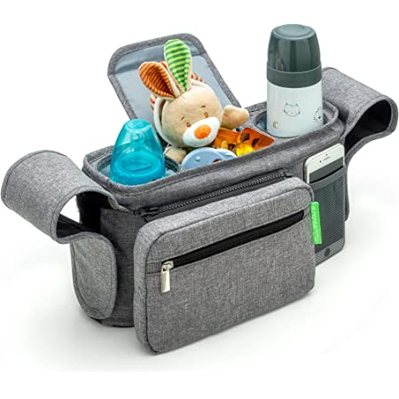 Universal Stroller Organizer with Insulated Cup Holders by MommyChill |100/% Secured Fits All Strollers Detachable Bag Easy Installation Baby Stroller Accessories Compact Mirror Non-slip straps