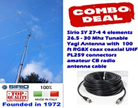 Sirio SY 27-4 4 Elements 26.5 to 30 MHz CB/10M Yagi Beam Antenna w/ 100Ft Coax