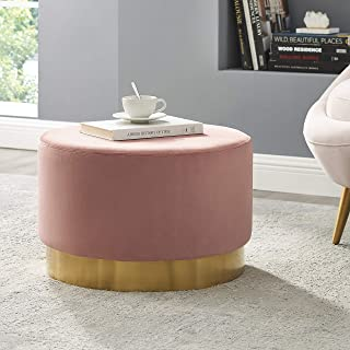 Art Leon Round Ottoman Large, Velvet Tufted Upholstered Footrest Stool Ottoman with Gold Plating Base for Living Room, Bedroom, Pink