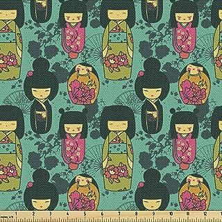Lunarable Japanese Fabric by The Yard, Traditional Kokeshi Dolls in Folk Clothes with Sakura Flowers Geisha, Decorative Fa...