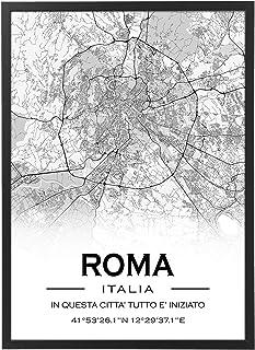 Mappa Citta' Personalizzata con Cornice - Quadro varie dimensioni vari colori Made in Italy Poster Mod.A col1