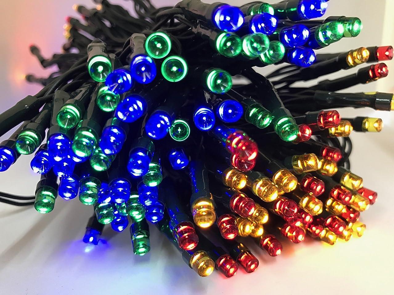 最も早いハリケーン裁量〔 ZAZ 〕 電気代ゼロ 4色カラー  200球 ×2セット (合計400球) LED イルミネーション 太陽光発電 ソーラー 充電式 LED イルミネーション 発光モードは8パターン  ケーブル長 約18m 光センサー内蔵 自動ON/OFF クリスマス 正月 イルミ 4色2セット