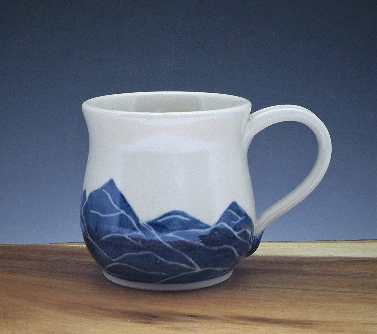 Pottery Mug, Porcelain Cup Handmade and Handpainted with Mountain Pattern