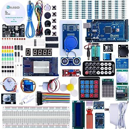 ELEGOO Mega 2560 Conjunto de Iniciación Avanzado con Tutorial en Español, Conjunto de Relé, Módulo de Fuente de Alimentación, Pantalla LCD1602, Motor Paso a Paso, Placa de Pruebas, etc.