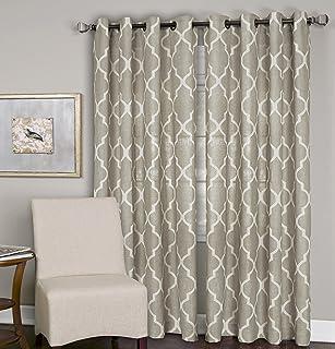 "Elrene Home Fashions Medalia Room Darkening Geometric Window Curtain Panel, 52"" W x 120"" L (1, Linen"