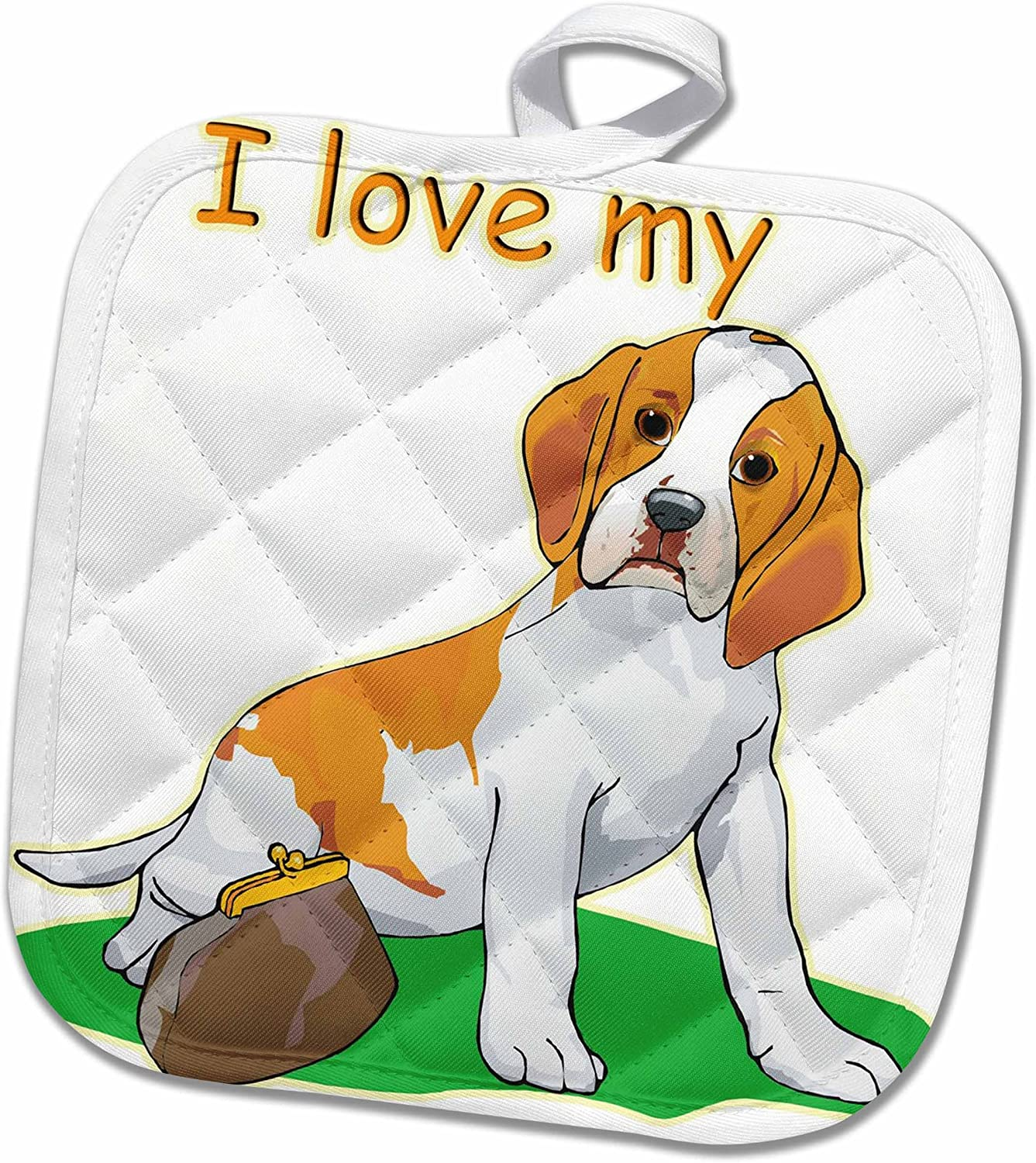 3d Rose Cute And Cuddly Canine I Love My Black Border Colle Pot Holder 8 X 8 Home Kitchen