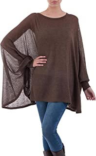 NOVICA Brown Cotton Knit Bohemian Drape Sweater, Desert Breeze'