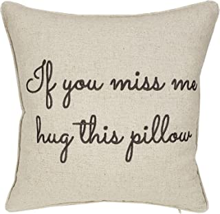 Trivenee Tex Pillowcase Embroidered Love Valentine Long Distance Relationship Decorative Throw Pillow Cover Gift for Wedding Anniversary Wife Girlfriend Christams (If You Miss(Natural), 18