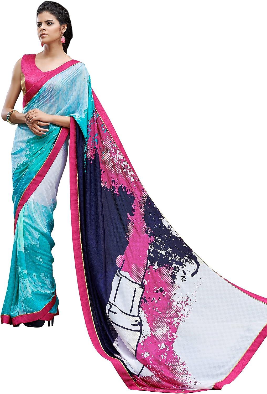 Saris and Things Digital Print bluee & Pink Shaded Crepe Silk Saree Sari