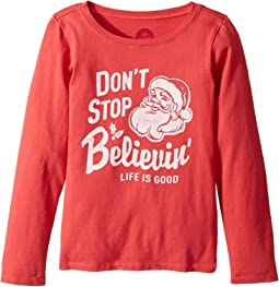 Life is Good Kids - Don't Stop Believin' Santa Long Sleeve Crusher Tee (Little Kids/Big Kids)