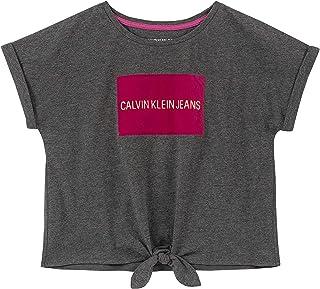 Calvin Klein girls Girls' Tie Front Tee Shirt T-Shirt