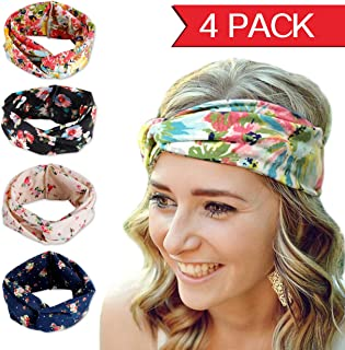 Fashion Elastics Headbands for Women - Angel Kiss 4 Pack Multi-Style Boho Floal Style Criss Cross Head Wrap Hair Wrap Band - Perfect for Yoga or Fashion, Workout or Travel - Hair Accessories Headband