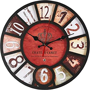 Königswerk Wall Clock Home Decor Wall Art Farmhouse Rustic Wooden Clock Battery Operated Easy to Read Classic Round Wall Clock for Living Room Office Classroom School Kitchen( 14 Inch )