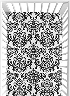 Sweet Jojo Designs Hot Pink, Black and White Isabella Fitted Crib Sheet for Baby/Toddler Bedding Sets - Damask Print