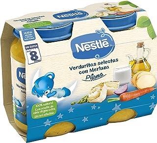 Nestlé Purés Pijama Tarrito de puré de verduras y carne, variedad Verduritas selectas con Merluza