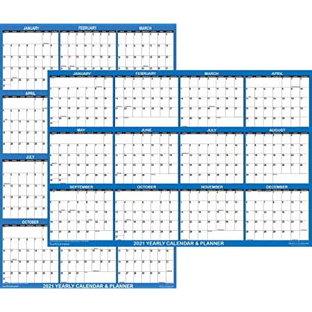 2021 Calendar Year Planner LAMINATED XL Wall Chart Weekly Monthly To Do Wipeable