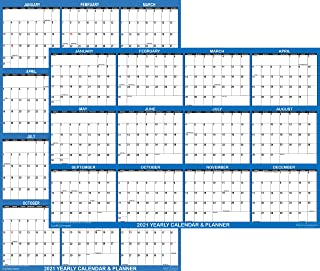 "18"" x 24"" SwiftGlimpse 2021 Wall Calendar Erasable Large Wet & Dry Erase Laminated 12 Month Annual Yearly Wall Planner, Re..."