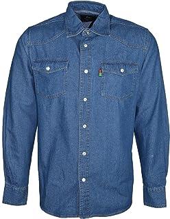 Duke London Western Mens Stonewash Denim Shirt