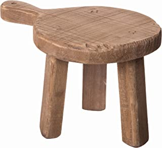 Red Co. Casual Country Mini Round Wooden Stool, Shabby Chic Display Stand and Table Top Potted Plant Holder, 4 Inches High