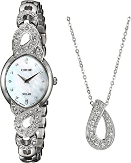 Women's Ladies Crystal Jewelry Japanese-Quartz Watch with Stainless-Steel Strap, Silver, 9 (Model: SUP367)