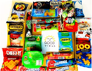 Good Vibes Original Care Package (25 Count) Snack Box- Assortment of Chips, Crackers, Candy, Cookies, Bars for Kids of all ages, College, Military, Office Co-workers, Teachers, Friends, Family