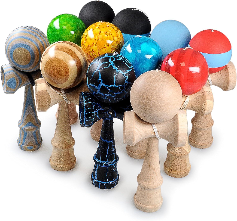 original de Jap/ón Ganzoo Kendama de madera de haya real Juguetes de madera tradicionales para una destreza y coordinaci/ón efectivas bola y taza port/átiles