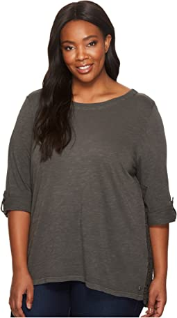Plus Size Wren Tee with Crochet Lace Back in Slub Jersey