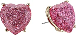 Pink Sparkle Heart Stud Earrings