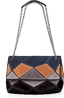 women's Genuine Suede Leather Purse Shoulder Bag Patch-color Messenger Handbag