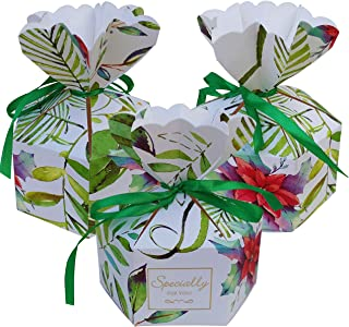 Lontenrea 30 Pcs Large-Size Christmas Candy Boxes Wedding Birthday Party Favor Gift Box with 30Pcs Green Ribbon Decoration (Green Leaves)