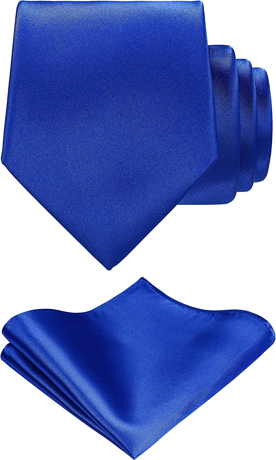TIE G Solid Satin Color Formal Necktie and Pocket Square Sets in Gift Box