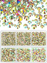 8030 Pieces Nail Art Rhinestones Round Flatback Rhinestones Crystal Nail Gems Stones in 6 Mixed Sizes for Nail Art Phone Decorations Crafts DIY (AB Clear, Silver Flatback)