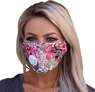 Full Seal Pollution Mask for Men & Women - Reusable Cotton Air Filter Mask With Adjustable Ear Loops Perfect for Blocking Pollution Dust Pollen and Germs (Includes 4 Carbon Filters N99) (Pink-Flower)