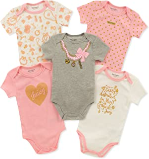 Juicy Couture Baby Girls 5 Pieces Pack Bodysuits