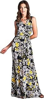 Bohemian Print Sleeveless Faux Wrap Long Maxi Dress with Belt